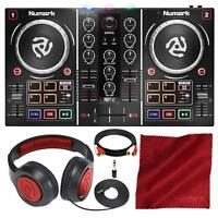 Numark Party Mix DJ Controller with Built-In Light Show and Headphones Accessory