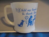 VINTAGE FIRE-KING MILK GLASS COFFEE CUP/MUG BOW HEAD THANK THEE FOR DAILY BREAD