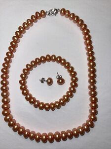 New HONORA Freshwater Cultured Pearl Necklace, Stretch Bracelet & Earrings Set