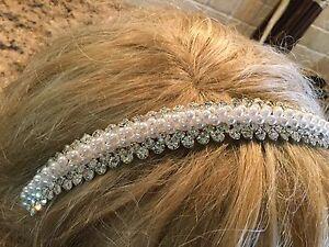 Flower Girl Pearl And Silver Rhinestone Headband