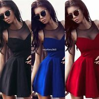 Women's Sleeveless Bodycon Lace Tunic Mini Dress Evening Party Cocktail Dresses