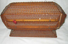 UNCOMMON VINTAGE C. 1890's-1920's CHIP CARVED 2 DRAWER TRAMP ART BOX SEWING or J