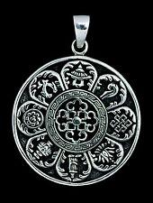 Pendentif tibetain Astamangala en Argent massif 925 8.2g  Bijoux Tibet -5204 -M2