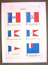 FLAGS FRANCE Colonies Governor Captain Naval Marine - 1899 Color Antique Print