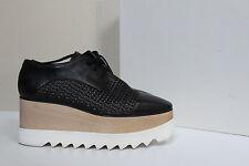 New sz 9.5 / 40 Stella Mccartney Scarpa Black Platform Wedge Heel Oxford Shoes