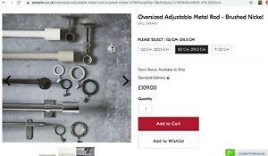 West Elm Oversized Adjustable Metal Rod - Polished Nickel, 152-274cm