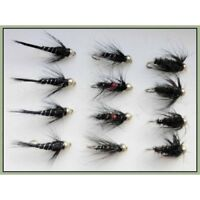 Gold Head Nymph Trout Flies, 12 Pack, Bibio, Black/Peacock, Black/Silver 10/12