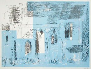 JOHN PIPER Signed lithograph St Margaret's Church, Lewknor, Oxfordshire 1964