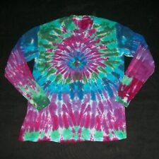 Organic Long Sleeve Tie Dye T-Shirt Peacock Large Hippy Hand Tye Dyed Fair Trade
