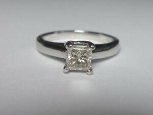 PLATINUM 0.46CT PRINCESS CUT DIAMOND SOLITAIRE RING