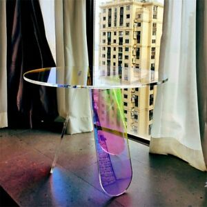 Modern Acrylic Folding Table Coffee Bedroom Living Room Colorful Laser Round
