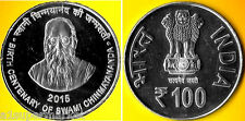 """INDIA 2015 ISSUED SILVER 100 RUPEE COIN """"BIRTH CENTENARY OF SWAMI CHINMAYANANDA"""""""