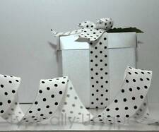 CHRISTMAS RIBBON 3 METRES WIRE EDGED WHITE BLACK POLKA DOT GIFT WRAPPING 'BIBI'