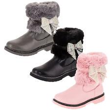 Gefütterte Mädchen Stiefel Boots Stiefeletten Winter Schuhe Reißverschluss Fell