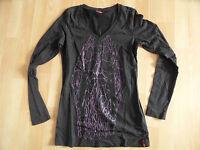 MEXX schönes Langarmshirt mit Druck schwarz Gr. M  ZC3