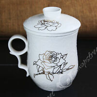 Poeny Flower Ceramic Porcelain Tea Cup Coffee Mug with lid Infuser Filter 270ml