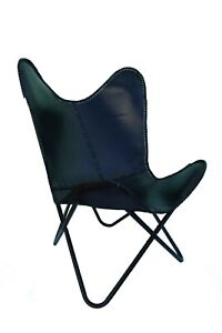 Vintag Buffalo Leather Vintage Handmade Butterfly Chair Black And Golden Stand