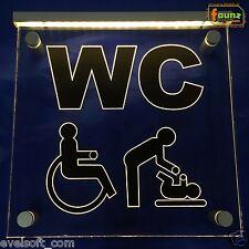 """LED Leuchtschild """"WC Behinderte Wickeltisch"""" schwarz Toilette Klo barrierefrei"""