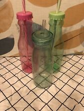 3 Plastic Drinks Bottles With Straws