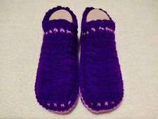 Womens Hand Knitted Violet Cozy Mixed Wool Slippers Indoor Shoes