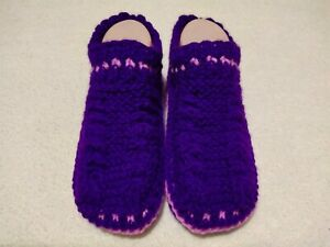 Hand Knitted Womens Slippers Socks Warm Slippers, Home Slippers Violet Color