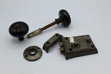 Vtg Antique Rim Lock Set w/ Black Porcelain Knobs & Escutcheon