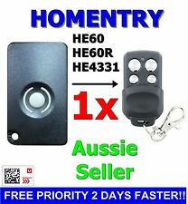 1x HomEntry/Home Entry HE60/HE60R/HE4331/HE60ANZ Compatible Garage Remote