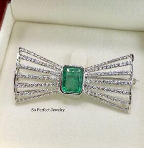 ART-DECO 4.28TCW Emerald VS Diamonds 18K Solid White Gold Natural Brooch Pin Bow