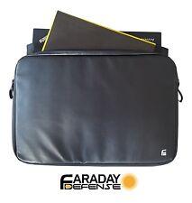 "Faraday Bag XL - 15.6"" Black PU Leather Shielding GPS WiFi Signal Blocking"