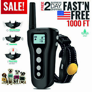Electric Remote Dog Training Shock Collar 1000ft Control FOR Small Large Big Dog