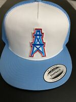 HOUSTON OILERS NFL VINTAGE BLUE EMBROIDERED LOGO HAT CAP SNAPBACK TRUCKER NEW