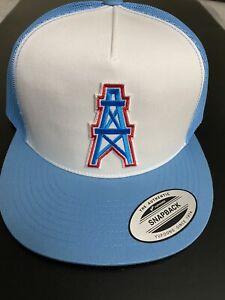 HOUSTON OILERS NFL VINTAGE BLUE EMBROIDERED LOGO HAT CAP SNAPBACK TRUCKER NEW