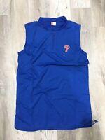 Philadelphia Phillies Athletic Vest Blue Zip Neck Drawstring XL XLarge SGA Chevy