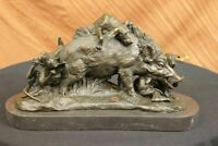 Bronze Art Deco Farm Decor Happy Pig Boar Wild Dog Dogs Marble Figure Sculpture