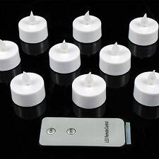 Mini LED Luz De Té Velas sin Llama 10PC Blanco Control Remoto Baterías Incluidas