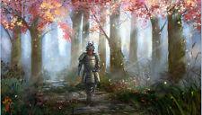 Wall Decor,HD oil painting canvas print ,Japanese samurai,beautiful forest30x50