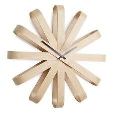 Umbra Ribbon Wall Clock, NATURAL Wood Work Decor Scandinavian Style Living Room