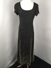 Vtg 90s Black Slinky Short Sleeve Dress Gold Glitter Bling Party Maxi Sz 12 Usa