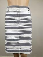Sportscraft Grey/White Stripe Pencil Pockets Skirt / Size 12