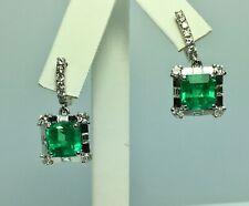 Certified AAAA 10.77ct Natural Colombian Emeralds & Diamonds Dangle Earrings 18K