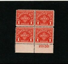 Us J77 $1.00 Postage Due Block of 4 with plate # Mnh