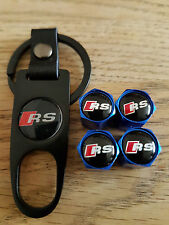 AUDI RS BLUE DUST VALVE CAPS BLACK SPANNER LIMITED ALL MODELS BOXED TT SPORTBACK