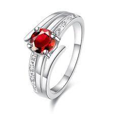 1 Karat Ring Silber pl Silberring rot 7 Zirkonia Verlobungsring Freundschaft