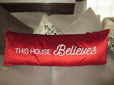 """Nwt 18"""" x 48"""" Christmas Holiday Long Pillow """" This House Believes"""" Red Velvet"""