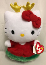 "TY Hello Kitty Original Beanie Baby Christmas Reindeer Plush Doll 7"" NEW!!"