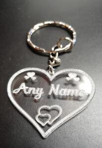 Personalised Gift loved ones Acrylic Keyrings Engraved