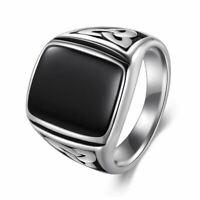 Edelstahl Silber & Schwarz Signet Ring Premium Qualität Schmuck Herren Damen