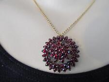 Estate Vintage~Antique Bohemian Rose ~Cut Garnet Three (3) Tier Necklace/Brooch