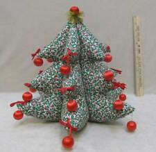 """Christmas Tree Hand Crafted Sewn Fabric Mistletoe Holly Red Ornaments Bows 12.5"""""""
