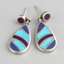 Vintage Southwest  Sugilite + Turquoise Inlay Sterling Silver Dangle Earrings